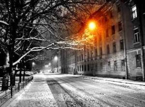 фонарь зимой